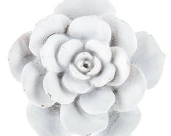 Beautiful White Cactus Flower Knob Shabby Chic Drawer Knobs Dresser Knobs Cabinet Doors