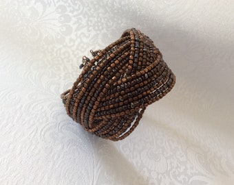Handmade Vintage copper and glass seed beads bangle bracelet with copper wire