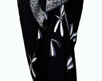 Dragonfly Skirt Beach Sarong Pareo Wrap Skirt Womens Clothing Black & Gray Sarong Batik Sarong Elegant Beachwear Beach Skirt Cover Up - Gift