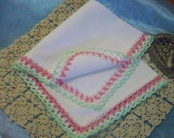 Custom Handkerchief, Custom Hanky, Custom Hankie, Custom Colors, Hand Crochet, Lace, Personalized, Monogrammed, Embroidered, Ready to ship