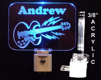 Personalized Guitar LED Night Light, Kids Lamp, Handmade Personalized Gifts, Instrument