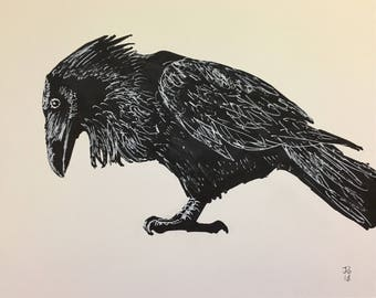 Raven painting, original, hand painted