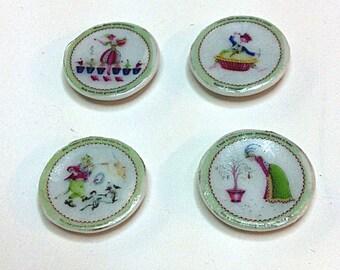 """Miniature set of 4 """"Nursery Rhyme"""" Plates (CER052)"""