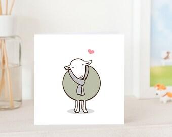 Animal Greeting Card - Cute Herwick Sheep with Love, Cute Sheep card, Sheep Love Card, Cute Animal card