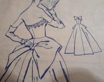 Vintage 1950's Modes Royale 1425 Evening Bridal Dress Sewing Pattern Size 14 Bust 32