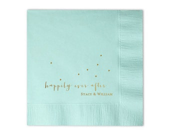 Happily Ever After Personalized Napkins - Set of 100 - Custom Printed Napkins, Foil Stamped Napkins, Favors