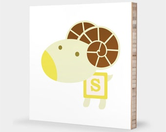 S for Sheep : ABC Block Bamboo Wall Art Series // Alphabet Kids Wall Art Nursery Room Decor Animal Art Baby