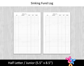 Half Letter: Sinking Fund Log • Budget Binder Printable Page Insert for 1/2 Letter & Junior sized Disc or Ring Bound Planners