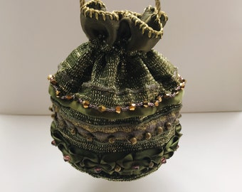 Green beaded drawstring pouch