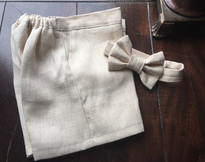Ring Bearer Outfit in European Linen; Bow Tie, and Shorts handmade by Two L Creations