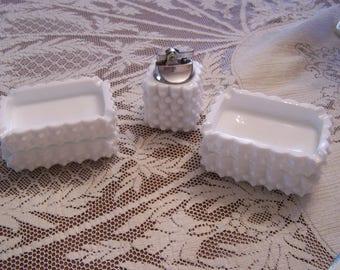 Vintage MCM Milk Glass Ashtrays and Lighter Set, Fenton, Hobnail, 5 PC Set