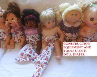 Cloth Doll boy diaper SIZE #2 ready to ship truck tools  fits some Baby alive luv a beau cabbage patch snackin sara stuffed animals and more