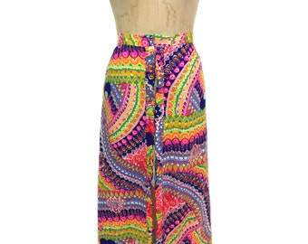 vintage 1960's psychedelic maxi skirt / Alice Polynesian Fashions / zipper front / rainbow / women's vintage skirt / size medium