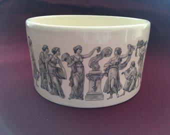 Vintage Holkam Pot/Bowl With Black & White Transfer Print