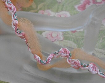 Pale Pink Rosette Orange Net Trim