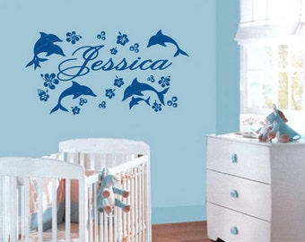 dolphins wall decals dolphin wall mural decals dolphins wall decals pink personalized dolphin wall sticker dolphins wall stickers (Z237)