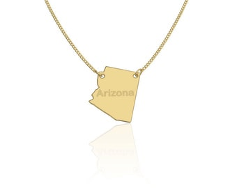 Arizona State Necklace, Personalized State Necklace, State Necklace silver state necklace gold filled state necklace City State Necklace