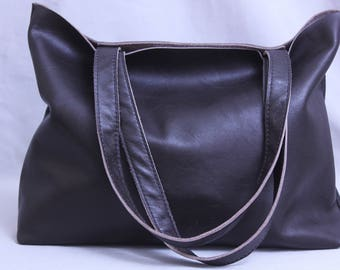 Leather Tote Bag  in Eggplant Color,  Soft Leather