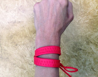 Red Leather look choker collar/wrap bracelet. Vegan. Made in USA