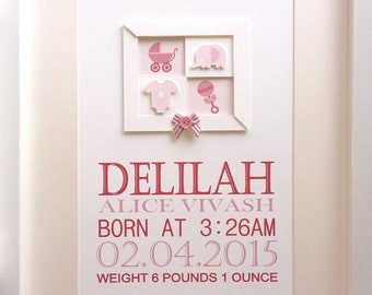 Baby Name Plaque, Personalised Keepsake  - New Baby Gift - Birth Announcement, Christening Gift.  Unique Design 3D Layered.