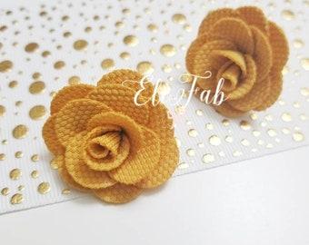 Yellow, Coral, Pink, Red Burlap Fabric Rosette Flower Stud Earrings, Handmade Earrings, Flower Earrings, Natural Earrings, Summer Earrings