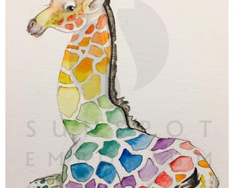 Hand Drawn Watercolor Rainbow Giraffe SVG DXF PNG Lasercutting Coloring Vinyl Cricut Digital File