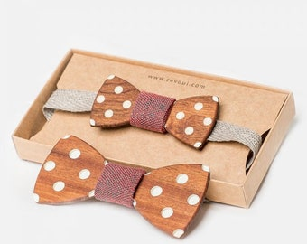 """Wooden Bow Tie """"Rockabilly"""" - for Adults and Kids"""