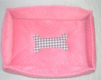 PET BEDS Pink Minky Puppy Doggie Bed Personalized