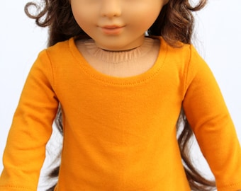 SAMPLE SALE - Fits like American Girl Doll Clothes - Asymmetrical Tee in Mustard | 18 Inch Doll Clothes