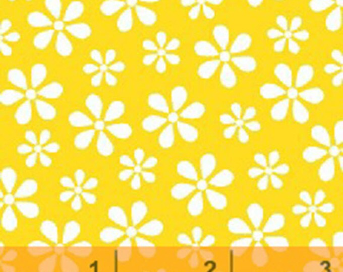 Windham Basic Brights - Daisy in Yellow / White - Bright Basics Cotton Quilt Fabric Floral Daisies - Windham Fabrics - 29399-7 (W3795)