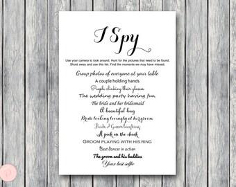 I Spy Wedding Scavenger Game, Wedding Game Printable, Wedding Scavenger Printable, Printable Game TG00 sign TH00