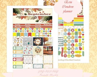 Printable Erin Condren Horizontal SEPTEMBER planner Monthly Instant Download Monthly With Cut Files ECLP SEPTEMBER