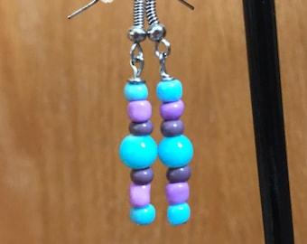 Purple And Blue Beaded Drop Earrings, Purple Blue Beaded Earrings, Blue and Purple Earrings, Blue Purple Drop Earrings, beaded earrings
