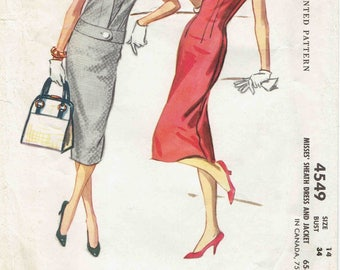 50s Sheath Dress & Jacket Pattern McCalls 4549. Fitted Sheath Dress, Bateau Neck, V-Back - Jacket w/Contrast Collar. Size 14 Bust 34 in