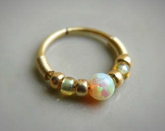 Yellow opal nose rinG, 20g Gauge Nose Ring, Small Nose Ring 20g, Nostril Hoop, Gold Filled Nose Ring
