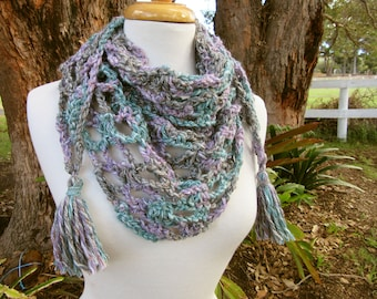 Blue Wool Shawl - Country Style Triangle Scarf with Tassels - Lavender Purple and Teal Winter Knitted Cowl