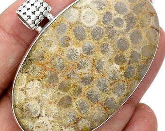 """Fossilized Coral Pendant. Pendant in Solid Sterling Silver. 1 5/8"""" Long"""