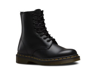 Vegan Punk Rock Yellow Line Mod Gothic Grunge Black Combat Unisex Millitary Shoes Boots