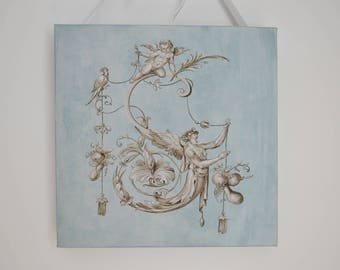 Painting trompe l'oeil grotesque/oil on canvas/ornament style/grey/french shabby chic/Monogram wall / 18th century painting