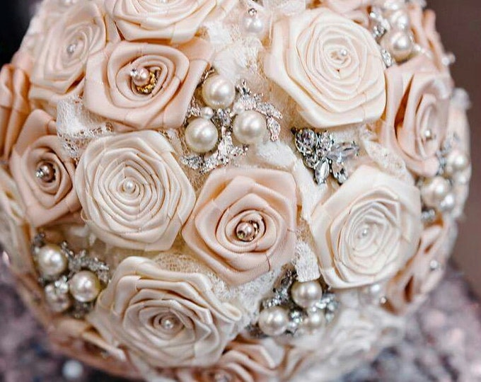 Vintage Inspired Blush and Ivory Satin Rose Bouquet