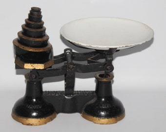 H.W. & Co - Vintage Cast Iron Kitchen Scales with Enamel Pan and Weights