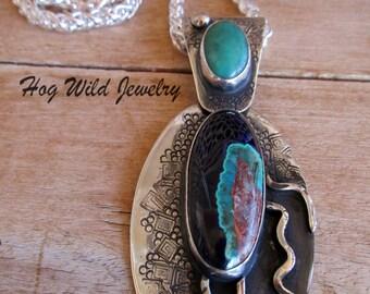 Artisan Silversmith Azurite Malachite Gemstone Pendant Necklace