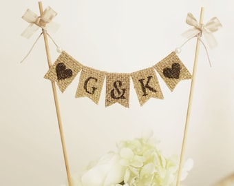 Personalized Cake Toppers,Customized Rustic Cake Toppers, Rustic wedding Monogram Cake Topper,Initial Wedding Cake Pick,Monogram Cake Topper