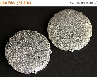 MOTHERS DAY SALE Two (2) Viking Brooches. Stamped Five Point Brooches. Silver Brooch Set. Shield Style Apron Pins. Shoulder Brooches. Norse