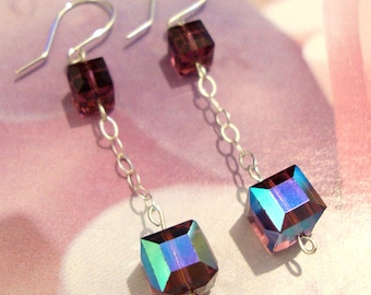 Plum Crystal Cube Sterling Silver Chain Earrings