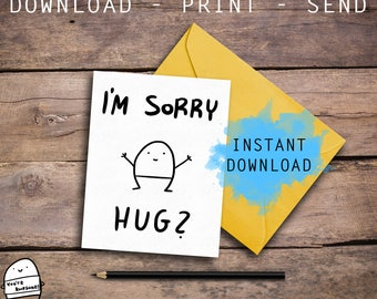 Cute Greeting Card, Apology Card, I'm Sorry Card, Love Card, Best Friend, For Her, For Him, Friendship Card, Funny Card, Digital Download