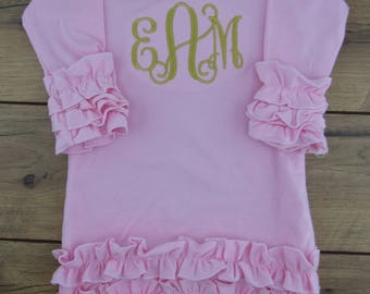 Baby gown, Newborn, Baby girl, coming home outfit, Personalized, take home outfit, monogram, name, infant gown, pink, lavender, purple, aqua