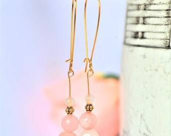 Stone Earrings Gold Pale Pink Stone Earrings Beaded Drop Pink Crystal Jewelry Gold Long Stone Earrings Dangle Victorian Pink Stone Earrings