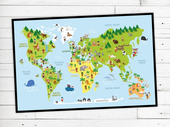 "Game rug ""World"" with children & animals of the world"