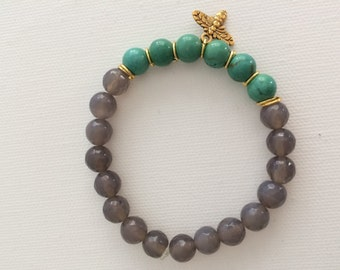 Grey Agate and Teal Magnesite Stretch Bracelet w/ Dragonfly